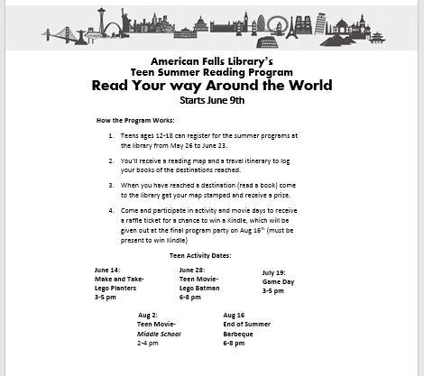 Library teen summer reading program